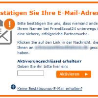 FriendScout24 Registrierung in 2 Schritten - Aktivierungsschlüssel eingeben