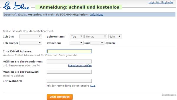 Anmeldung/ Registrierung bei Lablue