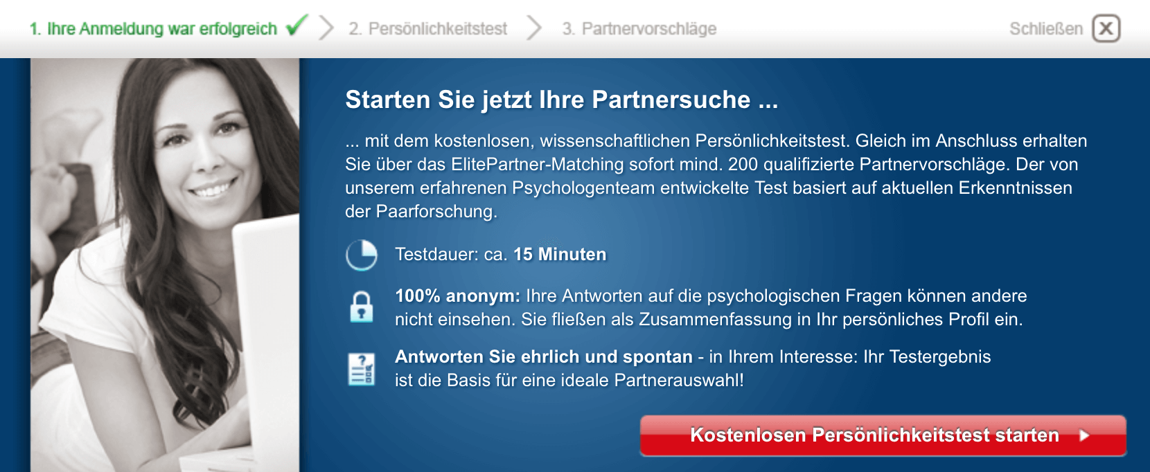 ElitePartner Anmeldung inklusive Persoenlichkeitstest – Screenshot 1
