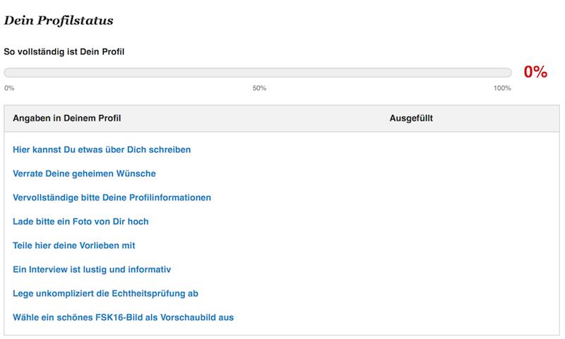 GAY.DE Anmeldung - Dein Profilstatus