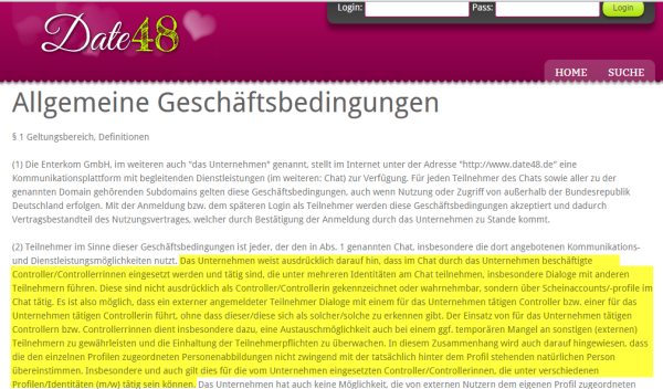 Date48.de Fake / Abzocke: Controller sollen Mitglieder der Singlebörse Date48.de bei Laune halten.