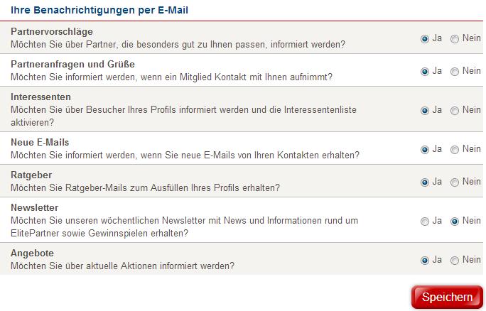E-Mail-Einstellungen bei ElitePartner, um Partnervorschläge und andere Nachrichten von ElitePartner zu deaktivieren.