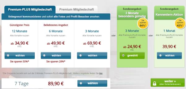 eDarling Kosten für Premium- und Premium-Plus Mitgliedschaft, Vertragslaufzeiten und Kündigungsfristen